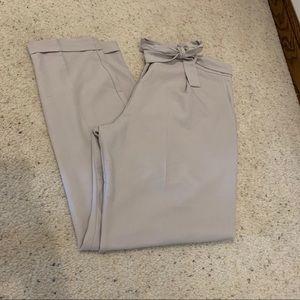 ASOS Tie Waist Grey Paperbag Dress Pants